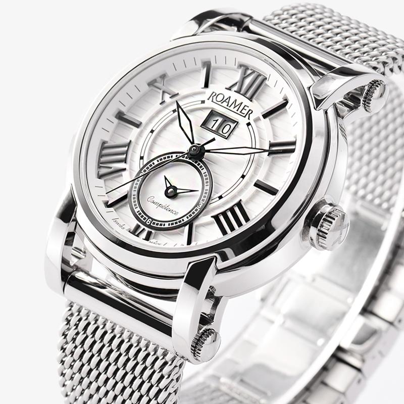 瑞士罗马/ROAMER表信心两地时间自动系列男士手表钢织布表带