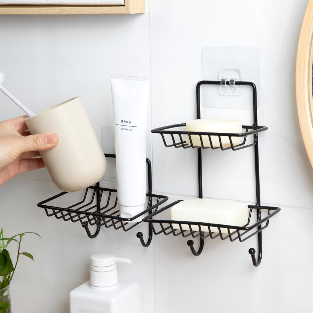 卫生间墙上肥皂架免打孔浴室壁挂香皂盒洗澡间墙壁铁艺收纳挂架