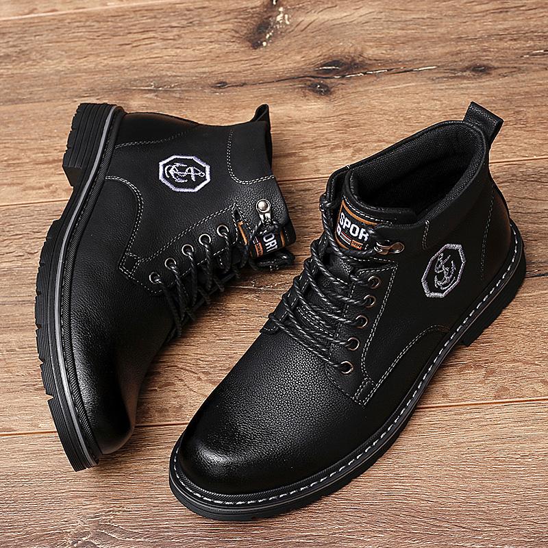 黑色真皮靴子男鞋冬季英伦风中帮工装潮鞋加绒保暖加厚高帮马丁靴