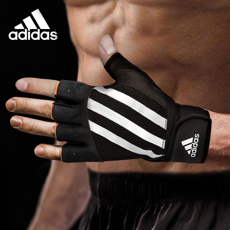 adidas阿迪達斯器械手套男女士訓練透氣運動護具半指健身防滑手套