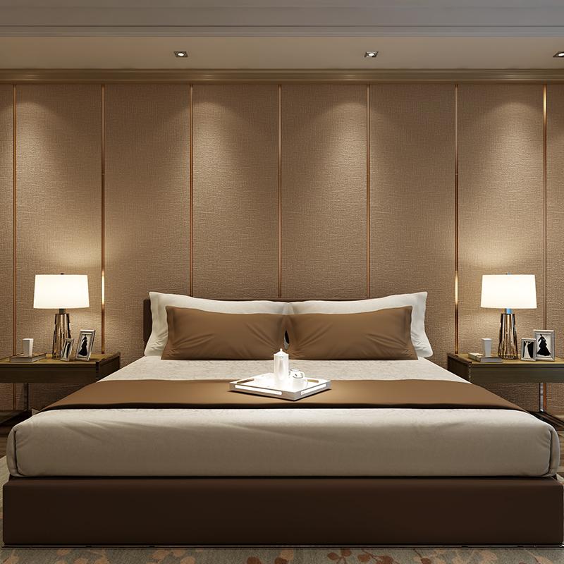 软包电视背景墙客厅沙发卧室壁纸 3d 现代轻奢条纹墙纸无纺布鹿皮绒
