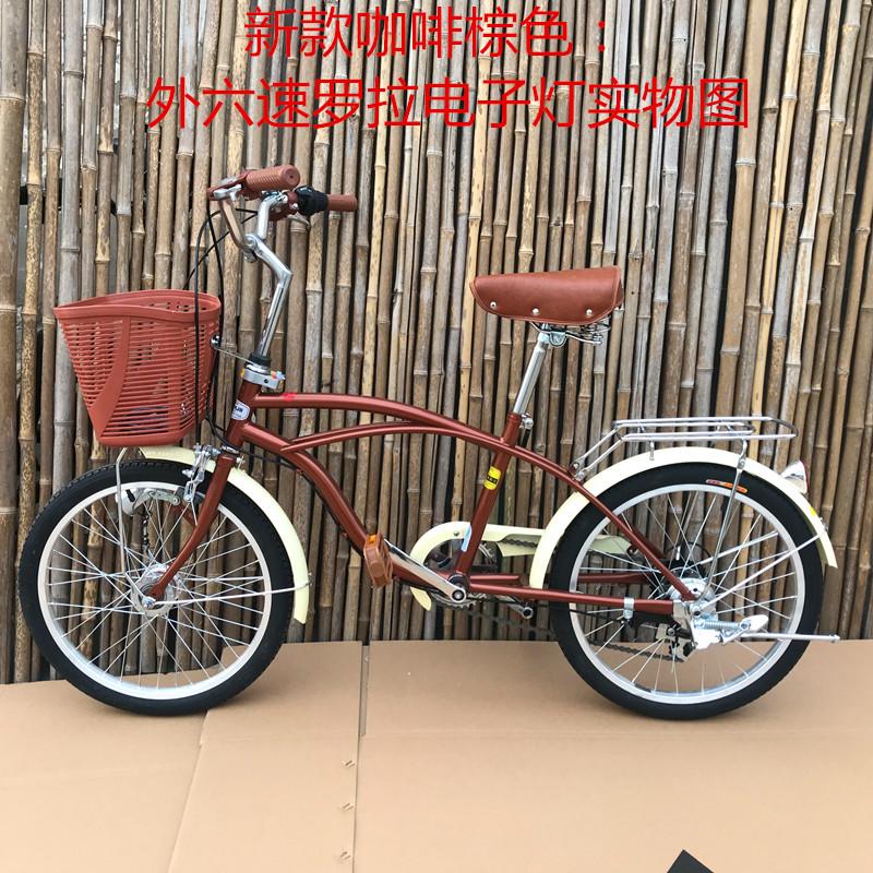出口日本自行车20寸22复古日式内三速儿童车学生车变速通勤基洛夫高清大图