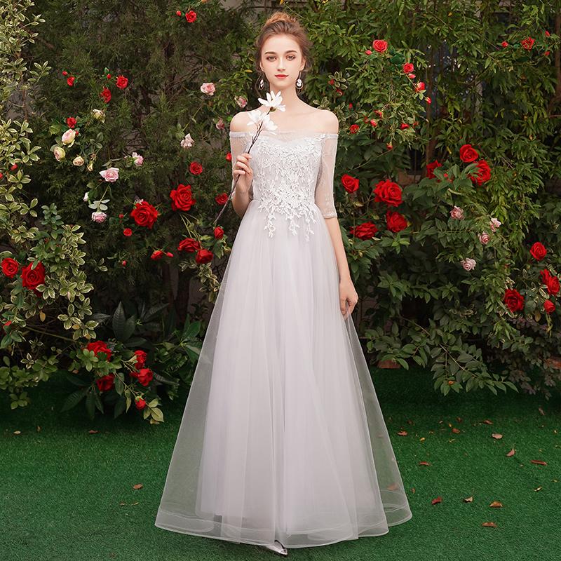 2019新款夏季伴娘团礼服姐妹裙长款灰色婚礼伴娘毕业韩版显瘦气质