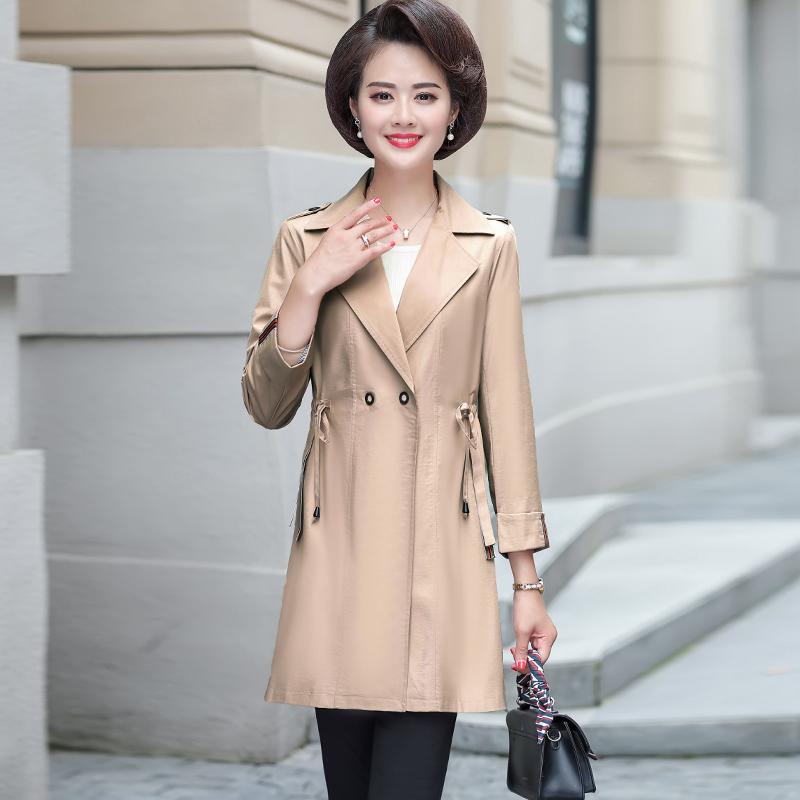 中老年女春秋外套薄款四五十岁妈妈装秋装韩版风衣洋气阔太太外衣