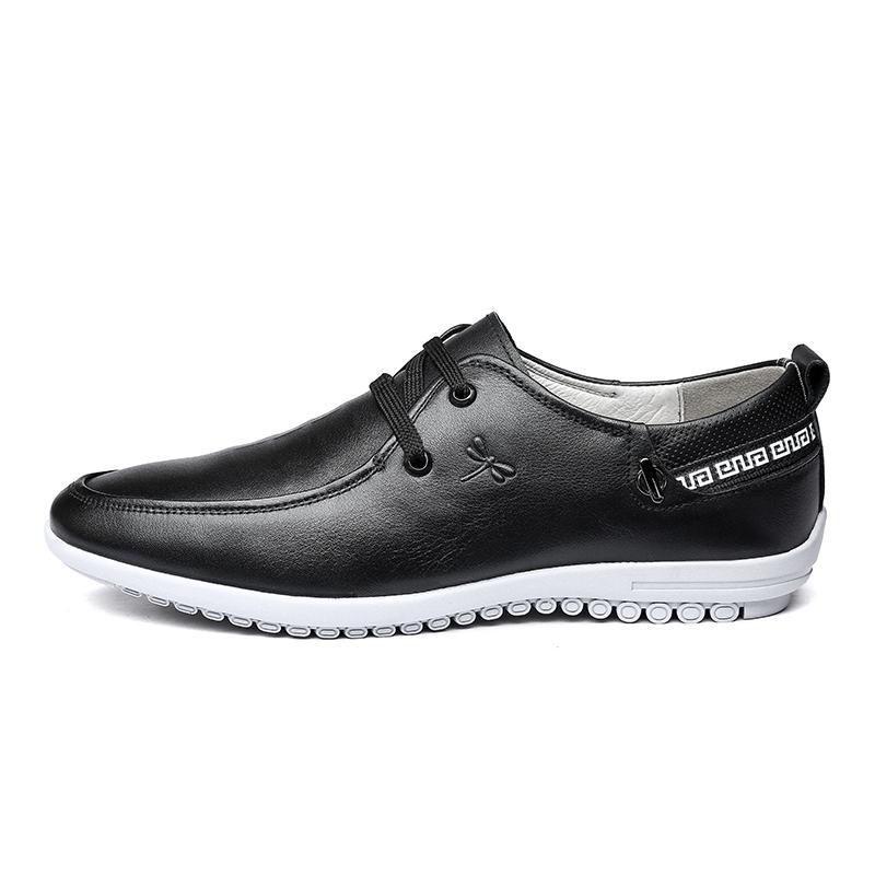 红蜻蜓男鞋韩版潮透气休闲皮鞋男真皮鞋子男英伦黑色系带男士皮鞋
