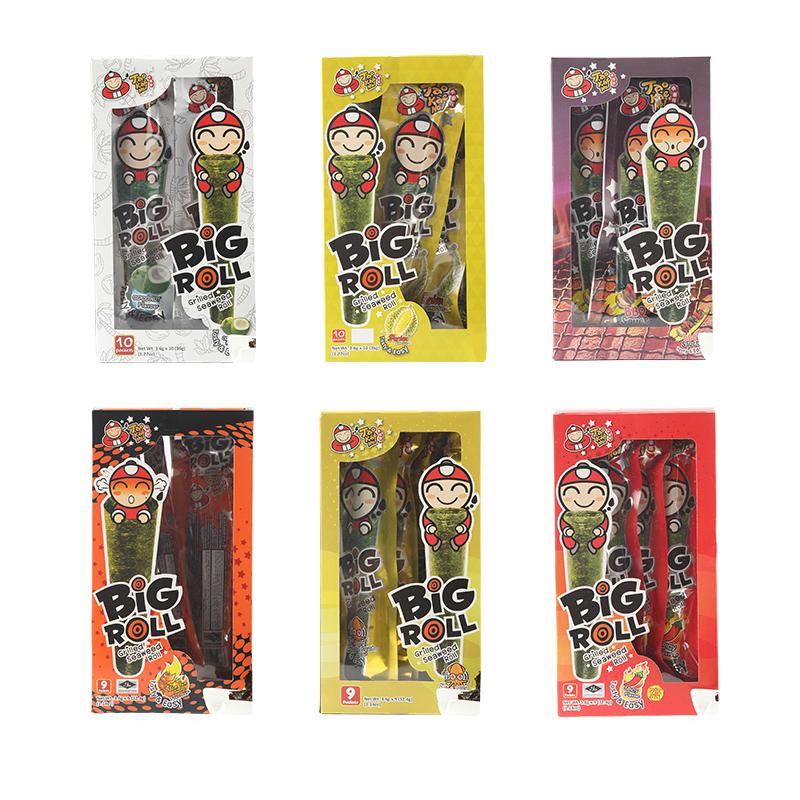 老板仔海苔卷盒装即食儿童脆紫菜原味整箱 bigroll 泰国进口小零食
