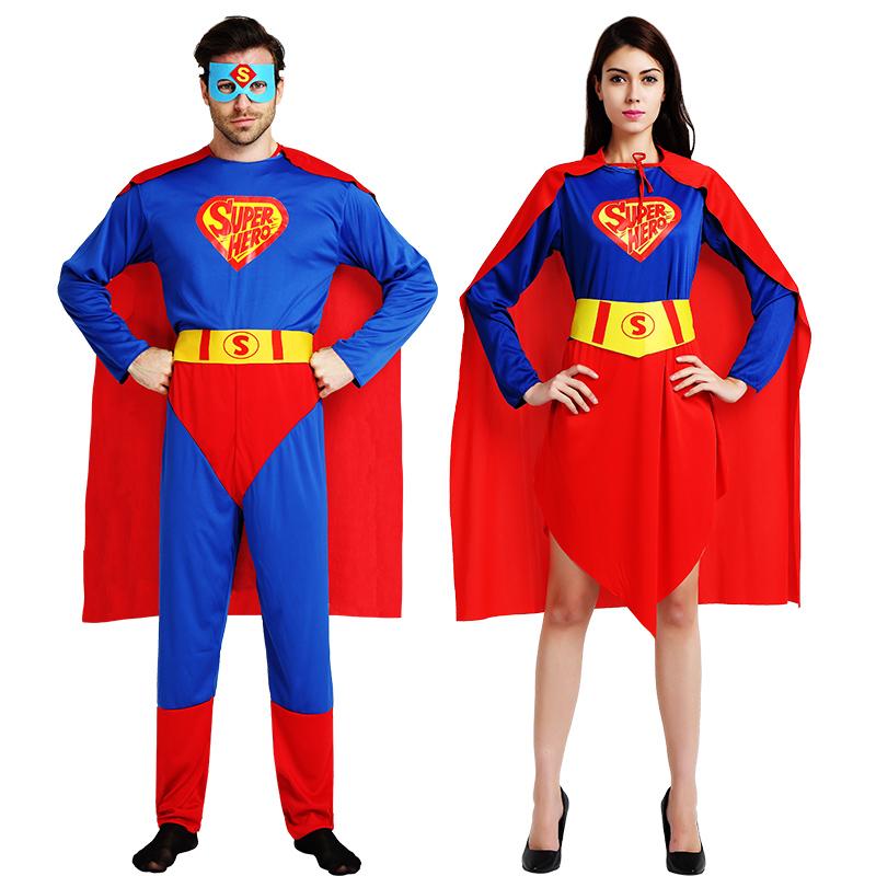 万圣节服装超人衣服成人超人儿童化妆舞会肌肉演出服披风英雄服装