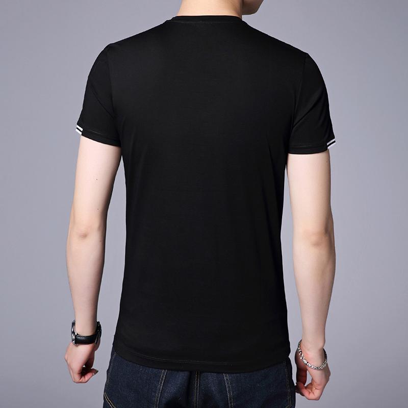 西梵尼短袖t恤男士纯棉纯色简约休闲青年韩版修身夏季半袖v领体恤