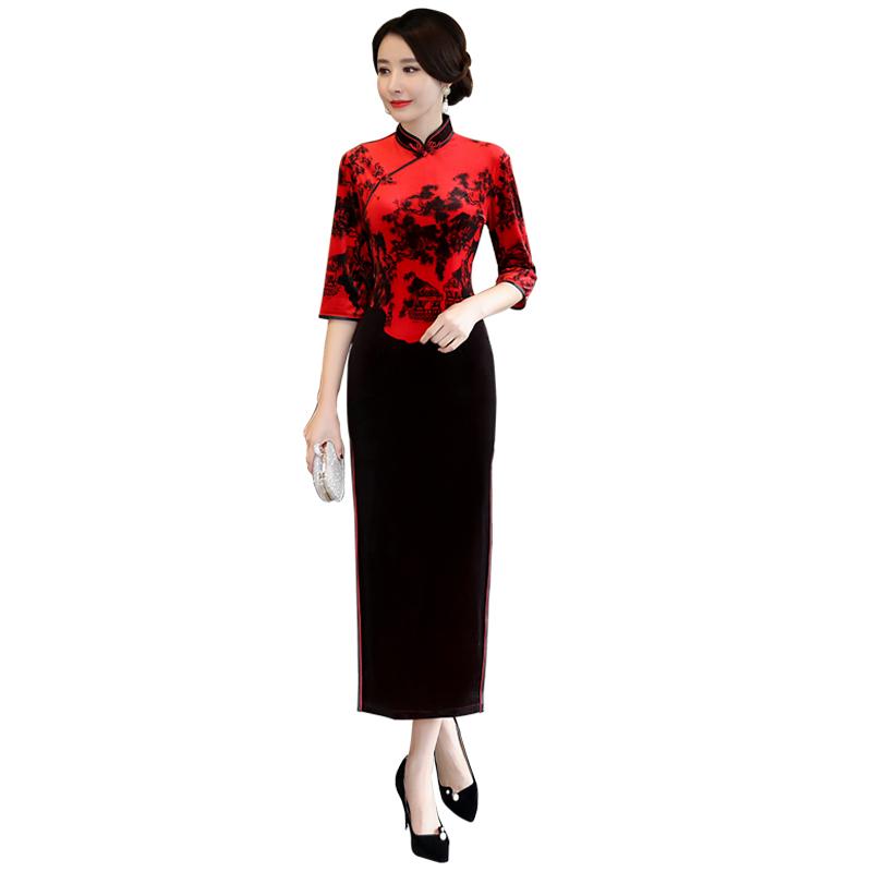 2019新款金丝绒旗袍女长袖改良中老年妈妈装中长款走秀演出中国风