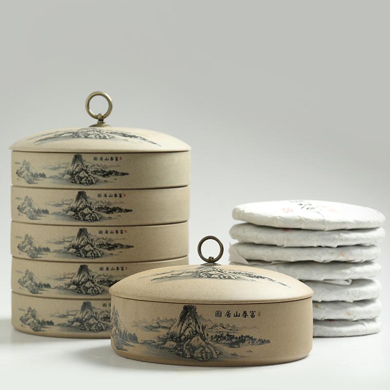粗陶普洱餅茶葉罐紫砂大號七子餅密封儲茶罐子茶盒茶餅包裝罐