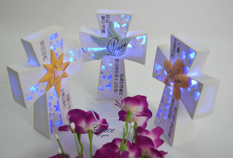基督徒基督耶稣教礼品家居饰品摆设摆件LED灯十字架小夜灯礼物