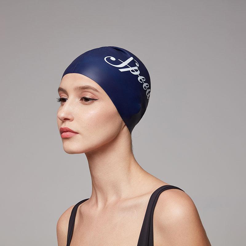 Speedo/速比涛 贴合护发 标志印花海岸线系列硅胶泳帽男女