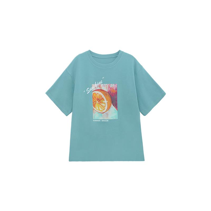 张贝贝ibell2020新款夏季湖蓝色上衣洋气复古韩版印花短袖t恤女潮【图5】