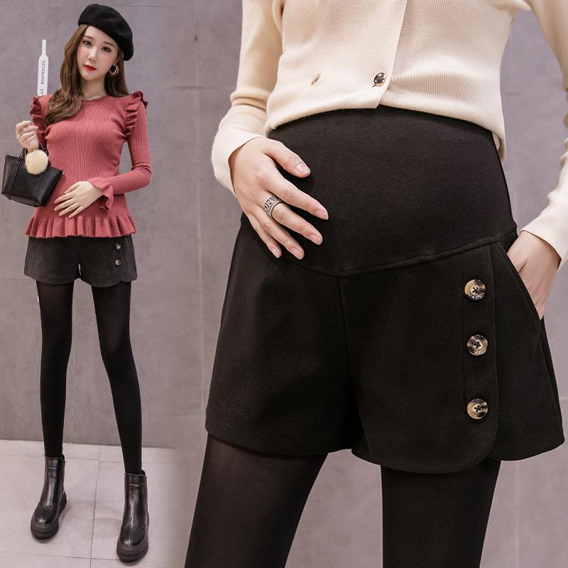 孕妇短裤秋冬装外穿时尚孕妈托腹裤子毛呢休闲阔腿裤打底