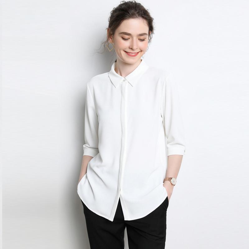 雪纺衬衫女中袖白色半袖质感职业夏装薄款休闲衬衣气质ol上衣七分主图