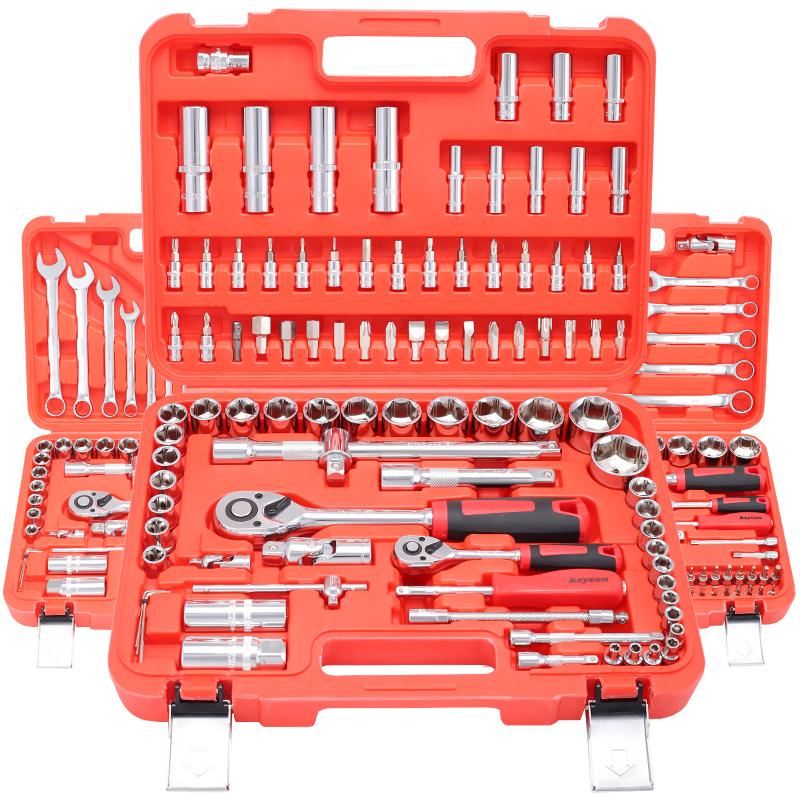 汽修工具套装快速棘轮套管套筒扳手工具多功能汽修汽车五金工具箱