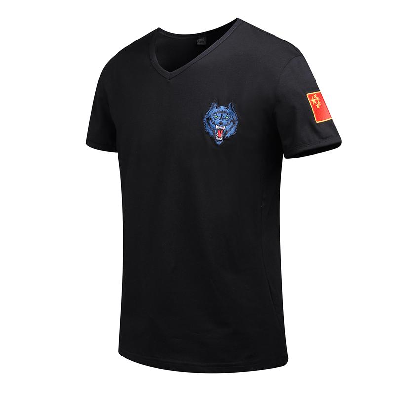 纯棉夏季军装刺绣中国男士短袖军迷半袖修身衣服特种兵t恤体
