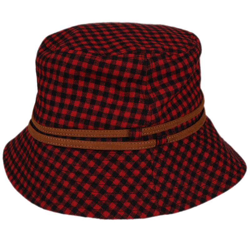 hatson男帽女帽韩版冬季新款运动帽格子帽休闲时尚帽SBRFAI3118RE