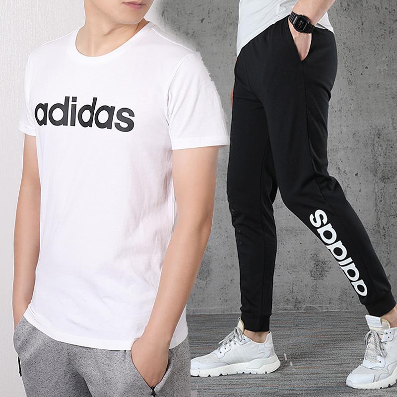 Adidas阿迪达斯套装男2020夏季新款休闲装纯棉T恤长裤男士运动服