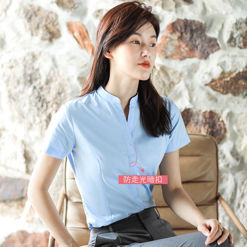 白色衬衫女短袖夏季薄款v领职业正工装小立领工作服通勤白衬衣夏主图
