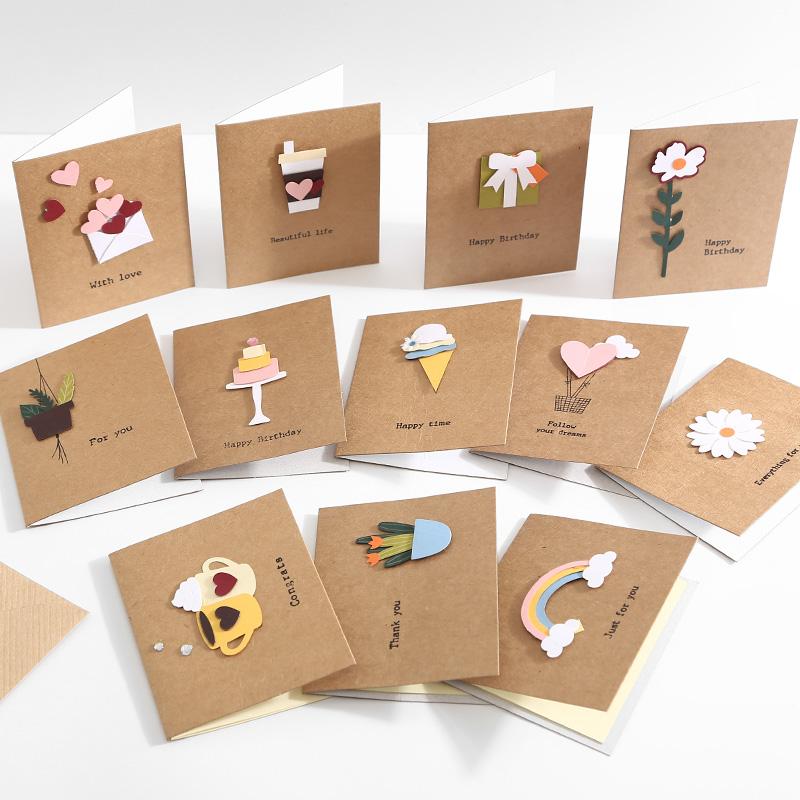 木雕贴件韩国创意贺卡小卡片生日贺卡高档祝福儿童节日感谢留言卡