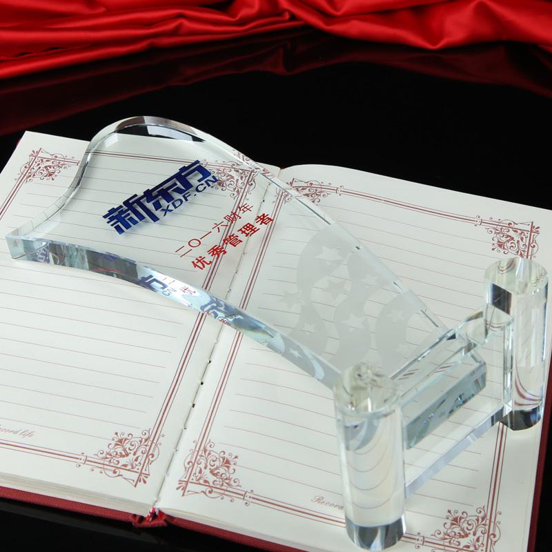 水晶奖杯定制创意纹绣奖牌半刻字大拇指制作定做学生比赛