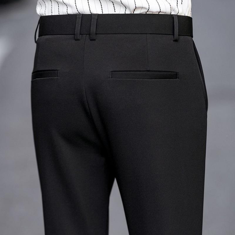 加绒九分裤男修身西裤男裤子男韩版潮流男士休闲裤小脚西裤男裤黑