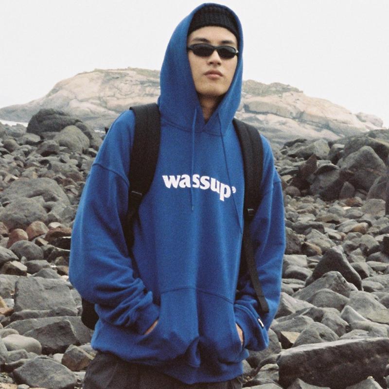 加绒连帽宽松套头卫衣 国潮牌秋季宝蓝纯色棉外套印花  WASSUP logo