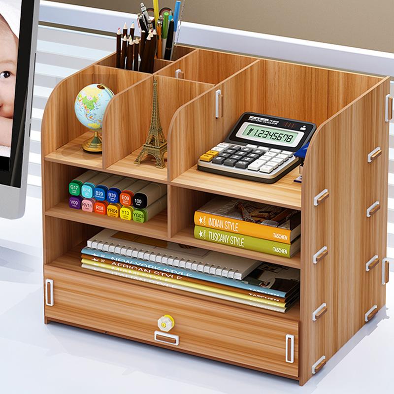 办公桌面收纳盒用品大号多层抽屉文件夹文具室木质储物书桌置物架