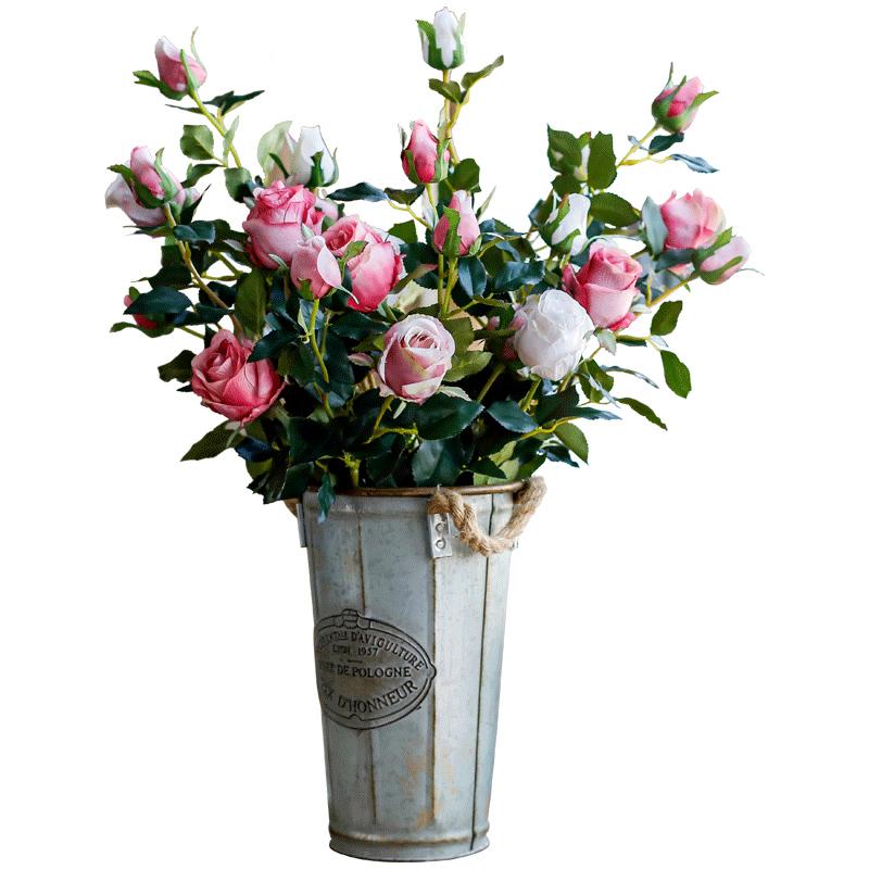 美式复古仿真玫瑰花单支花束假花仿真花摆件客厅绢花装饰花摆设