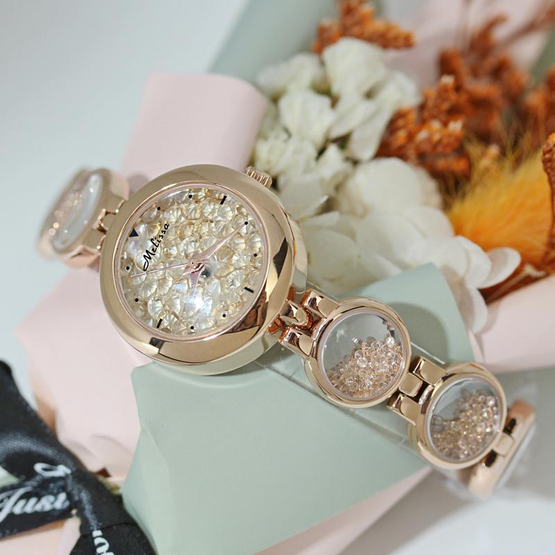 玛丽莎正品石英女表气质时尚奢华镶钻表防水时来运转潮流装饰手表