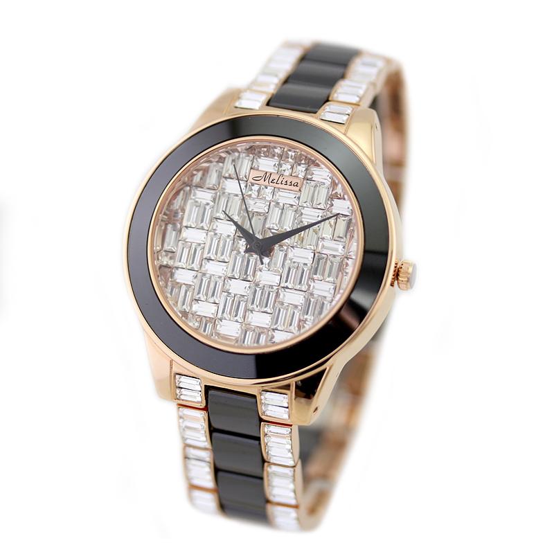 玛丽莎正品石英手表陶瓷表 潮流时尚水晶气质女表 白陶瓷钻表装饰