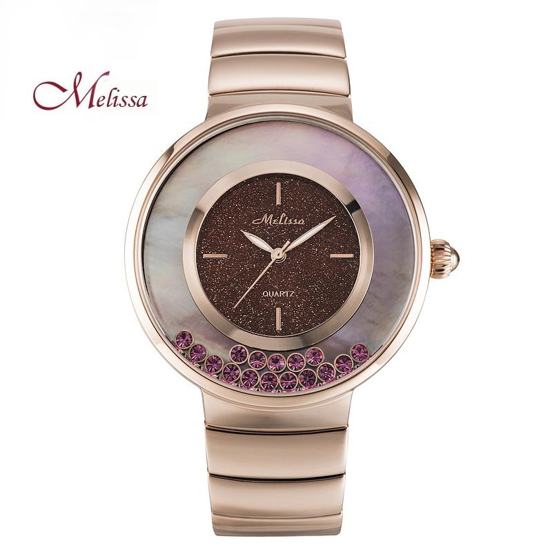 玛丽莎正品石英表钢带镶钻女表时尚装饰女式腕表防水彩色星空手表