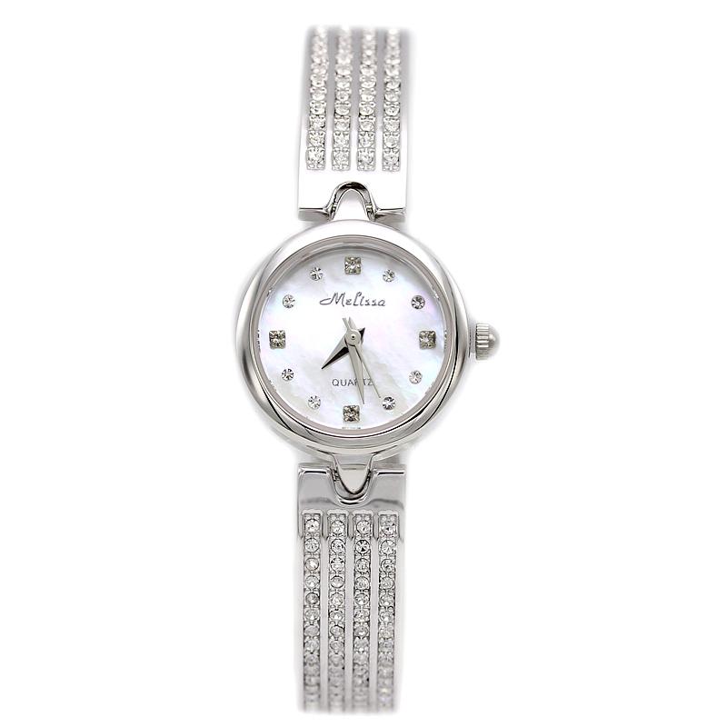 玛丽莎正品石英女表镶钻水晶时尚休闲气质手链手表简约防水钻腕表