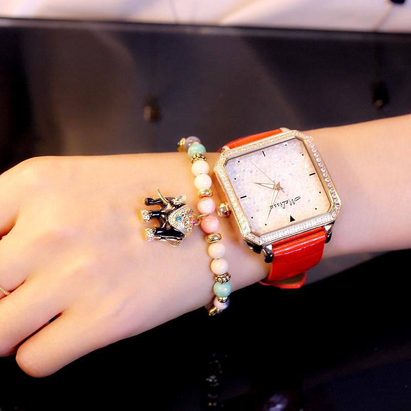 玛丽莎正品石英女表防水方形时装表皮带钻表休闲大气韩版时尚手表