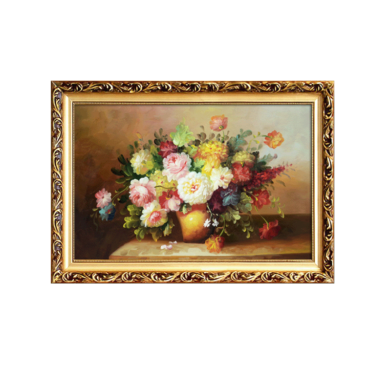 歐式客廳玫瑰裝飾畫帶框花卉油畫現代掛畫臥室沙發背景墻畫床頭畫