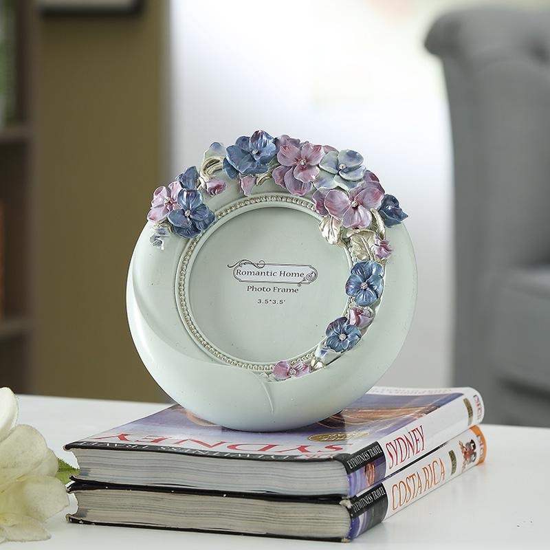 欧式田园韩式公主房婚庆结婚送礼婚照三色堇树脂7寸相框