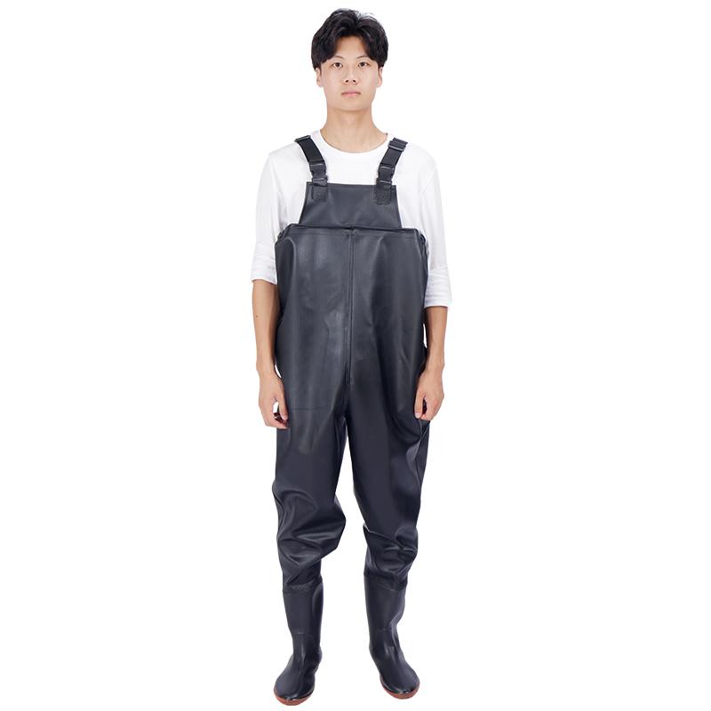 加厚半身下水裤捕鱼雨裤男连体全身防水衣服皮水叉裤雨鞋雨裤耐磨