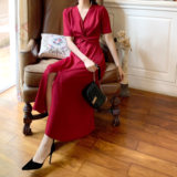 French knot waist four-color thin slits temperament more in the long-line Dress