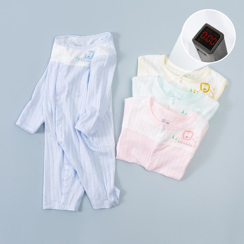 贝贝怡2021春秋季新款新生儿婴幼儿男女童轻薄初生长袖连体衣哈衣