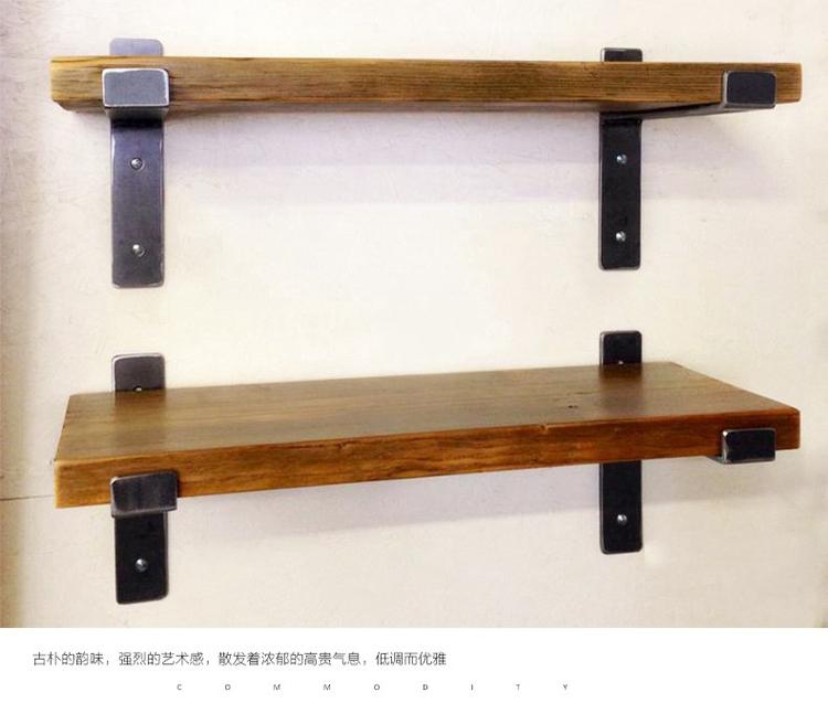 墙上置物架实木隔板墙壁书架一字搁板复古墙架客厅厨房壁挂置物架