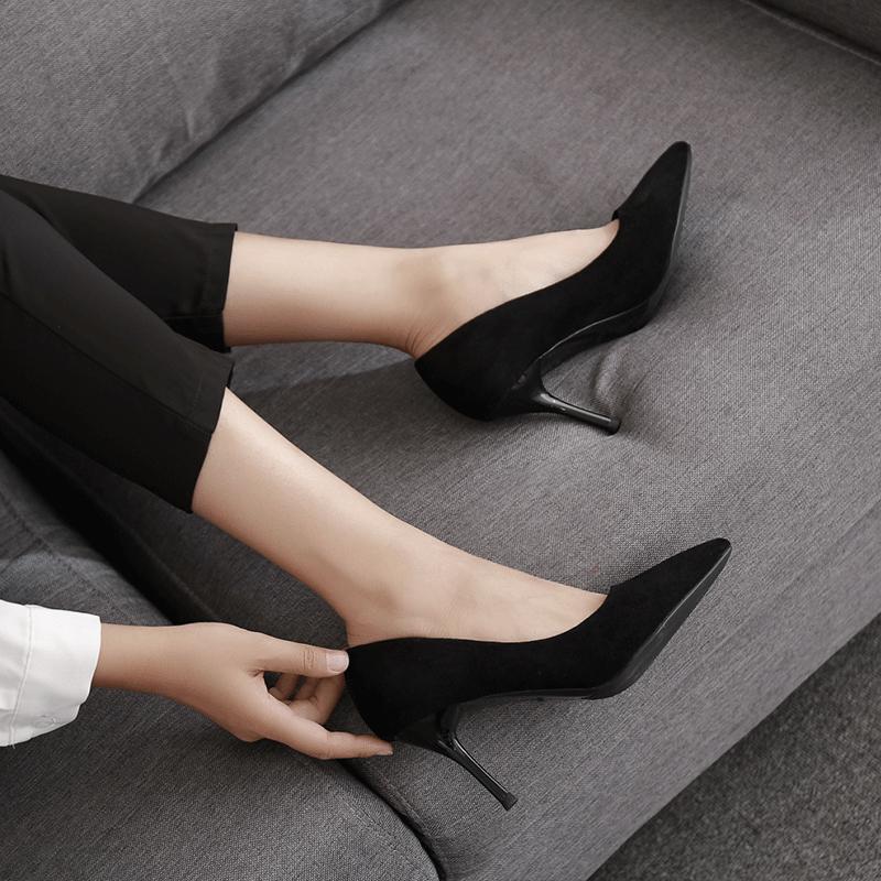黑色绒面高跟鞋尖头细跟中跟优雅百搭OL职业工作面试女单鞋5cm7cm (¥85(券后))