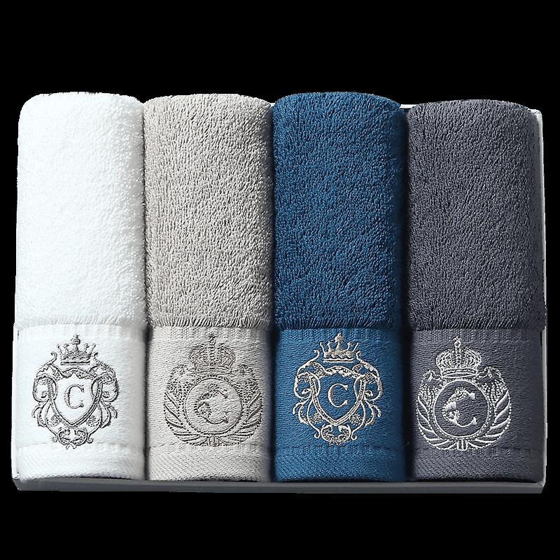 康尔馨 五星级酒店小毛巾纯棉方巾4条装洗脸巾家用柔软吸水礼盒装