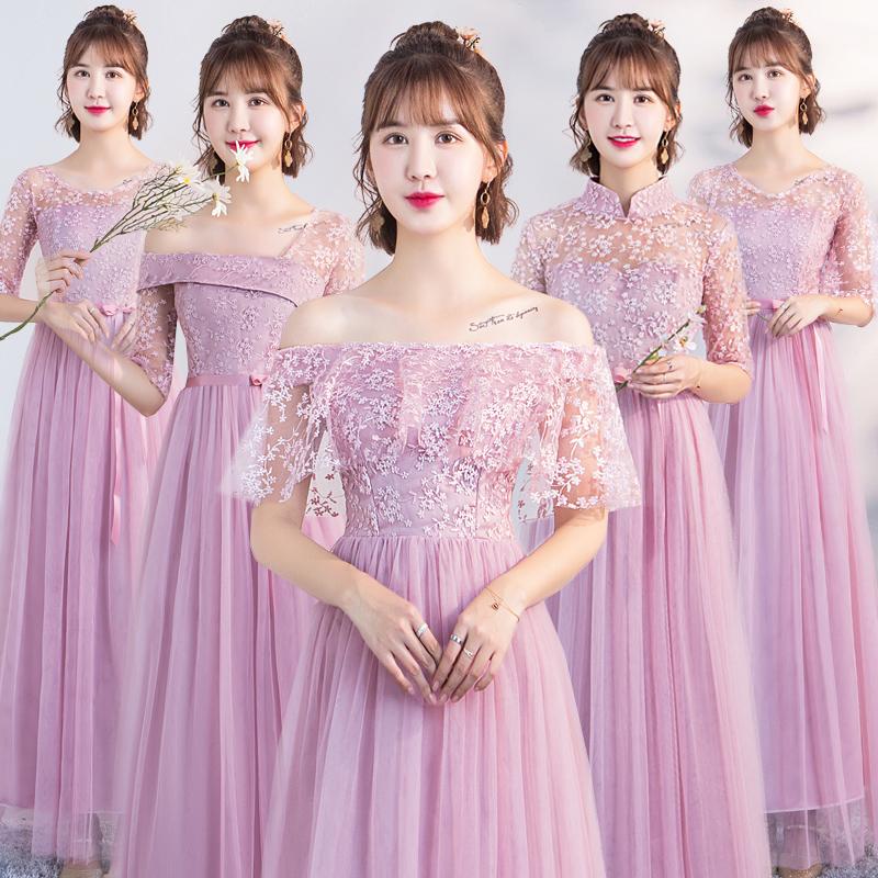 伴娘礼服女2019新款韩版闺蜜团伴娘服仙气质姐妹团礼服女简单大方