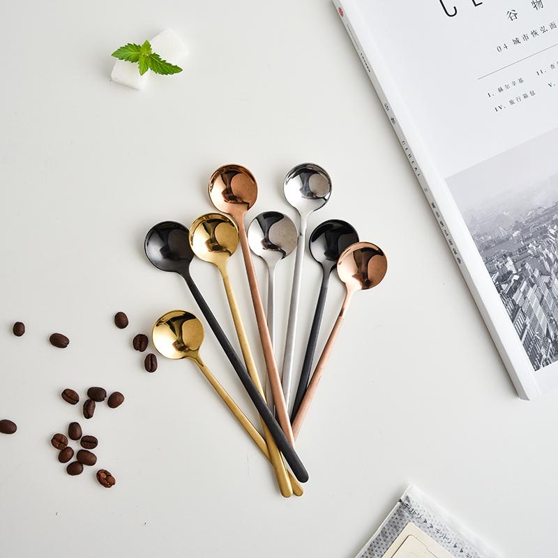 夏朵 创意304不锈钢磨砂手柄咖啡勺奶茶勺甜品勺长柄搅拌勺酸奶勺