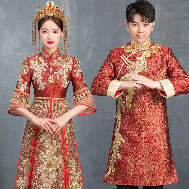 秀禾服2019新款新娘结婚显瘦中式马来礼服龙凤大码孕妇秀禾出阁服
