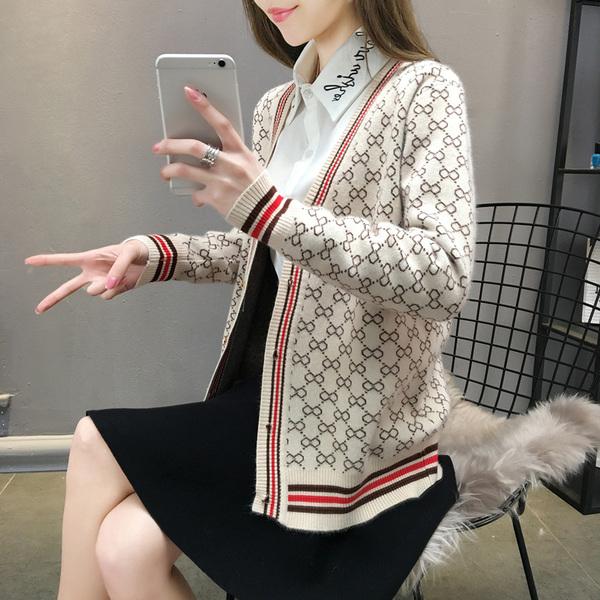 针织开衫外套女2020春装新款韩版宽松单排扣复古提花外搭毛衣潮