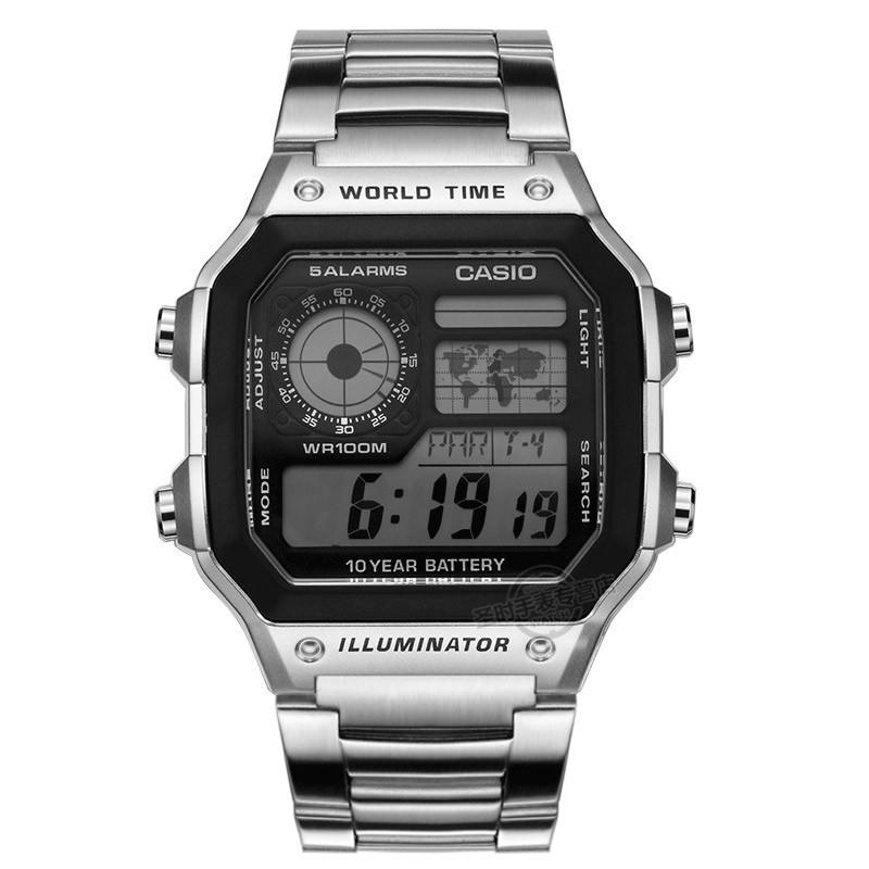 卡西欧手表男复古金属小方块防水户外登山运动电子表男ae-1200wh