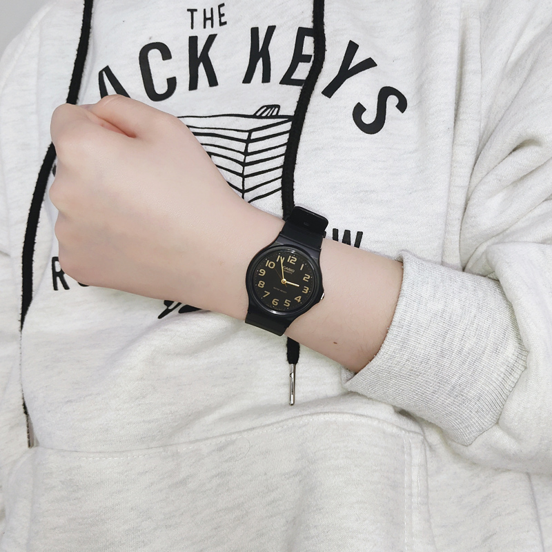 卡西欧手表男女学生情侣手表casio网红小黑表学生电子手表MQ-24-7