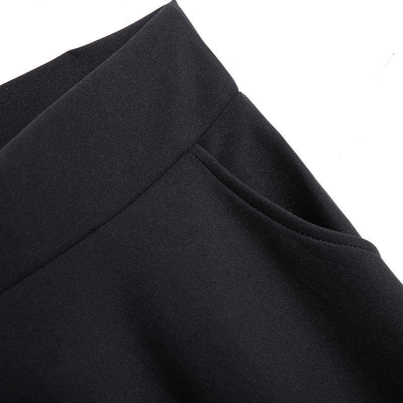 春装2021新款女装百搭长款半身裙松紧腰宽松时尚大摆A字黑色长裙主图